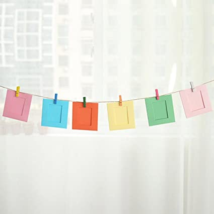 Amazon.com - SUKEQ 3 Inch DIY Paper Photo Frame with Rope and Clips ...