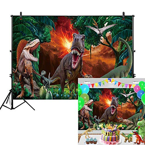 (Allenjoy 7x5ft Dinosaur World Backdrop for Children Boy Jurassic Park 1st Birthday Party Rainforest Tropical Jungle Safari Animal Banner Decor Photography Background Photo Studio Booth Props)