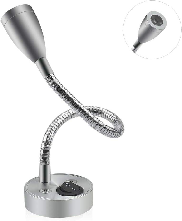 Luxvista 12V Lámpara de Pared LED 1W Luz Foco de Lectura con Interruptor de Cuello Cisne Flexible Iluminación 360°de Haz Interior para Dormitorio Luces de Escritorio, Lámpara de Cabecera (Blanco Frío)