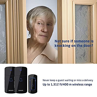 NOVETE Wireless Doorbell Set 1300 Feet Long Range Waterproof Remote Door Chime Kit (1 Push Button, 2 Receivers) with LED Indicator, 52 Chimes, Memory Function and 5 Volume Levels