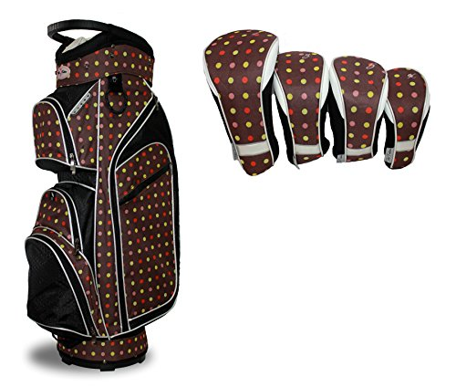Taboo Fashions Monaco Lightweight Carry/Cart Bag Bundle with Club Covers (7 Colors Available) (Cocoa Eye (Monaco Cocoa)