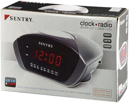 Sentry AM FM Clock Radio Black – Sentry CR100