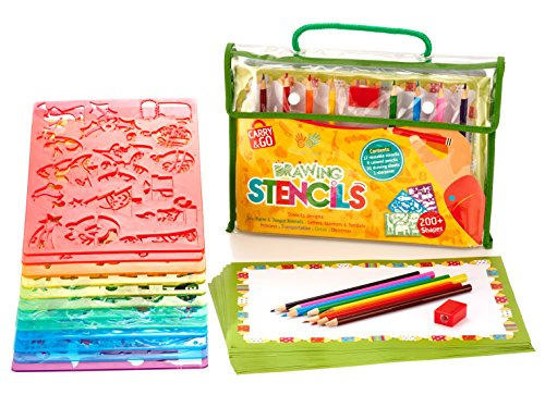 Large Drawing Stencils Art Set for Kids by Creativ' Craft - More than 200 Shapes, Awesome Creativity Kit & Lightweight