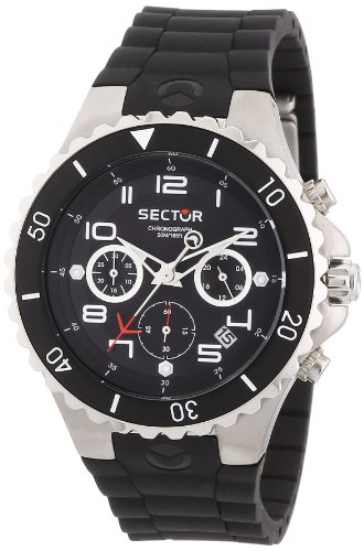 Sector Unisex Watch R3271611125 In Collection 175, 43mm Chrono with Black Dial and Black Pu Strap