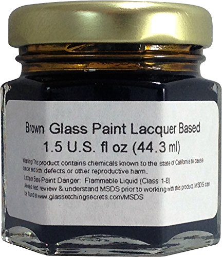 (Brown) Glass Paint Lacquer Stain, Permanent 1.5-Ounce Professional Stained Glass Like (Glass Etching Paint)
