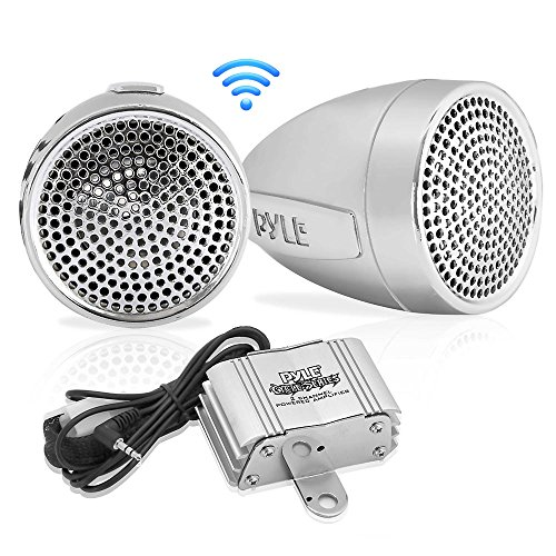 Pyle 300 Watt Weatherproof Motorcycle Speaker and Amplifier System w/ Two 2.25 Inch Waterproof Speakers, AUX IN- Handlebar Mount ATV Mini Stereo Audio Receiver Kit Set - Also for Marine (Sterling Mini Cord)