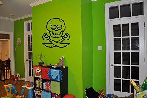 Pirate Print Nails (Stickers Wall Art Wall Decals Home Decor Wall Stickers Decor Sticker Art Prints Children's Wall Stickers Kids Cartoon Pirate Scull Nm153)