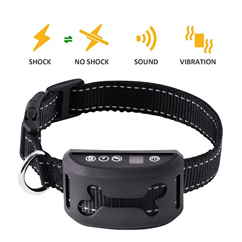 BARK SOLUTION Rechargeable Anti Dog Bark Collar with 7 Adjustable Sensitivity and Intensity Levels Harmless Bark Collars for Small Medium Large Dogs