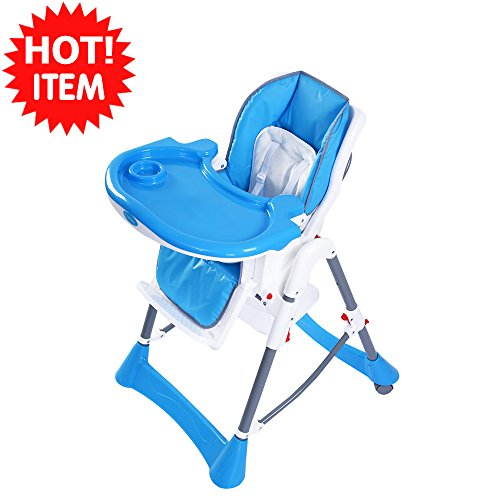 Blue Portable Baby High Chair Solid steel frame and heavy-duty stable base Infant Toddler Feeding Booster Folding Highchair Advanced and harmless plastic material for babies safety