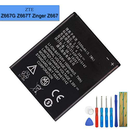 New Replacement Battery Li3815T43P3h615142 Li3815T43P3h615142-I Compatible with ZTE Z667G Z667T Zinger Z667 Z667T Whirl 2 Z667G Prelude 2 Z669 with Tools (2 Z669 Prelude Zte)