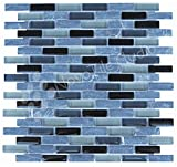 Box 10 Tiles Black Marble & Glass Mosaic Tile 12''x12'' ROMA-MX013 (10)