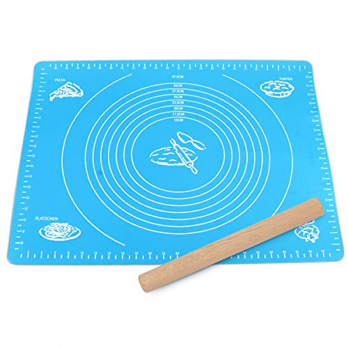 Silicone Rolling Mat And Wooden Rolling Pin Sets, Amytalk Non-Stick Pastry Mat with Measurement, Reusable, Heat Resistance Table Placemat for Rolling Dough for Housewife, Cooking Enthusiasts, Blue