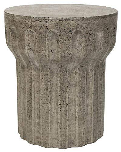 Safavieh Outdoor Collection Vesta Modern Concrete Dark Grey Round 15.3-inch Accent Table
