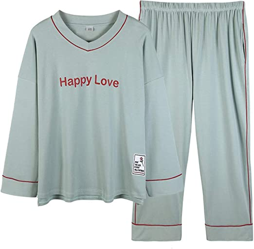 Nuevos Pantalones de Manga Larga para Mujer, Pijama de algodón con ...