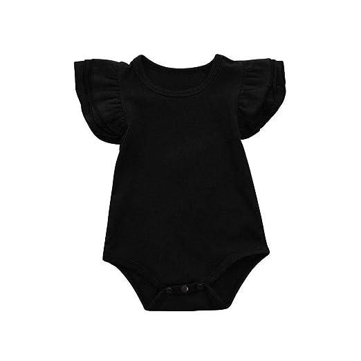 28353b79b311 GWshop Cute Baby Playsuit, Baby Girls Jumpsuit, Newborn Infant Solid  Colored Summer Romper Bodysuit