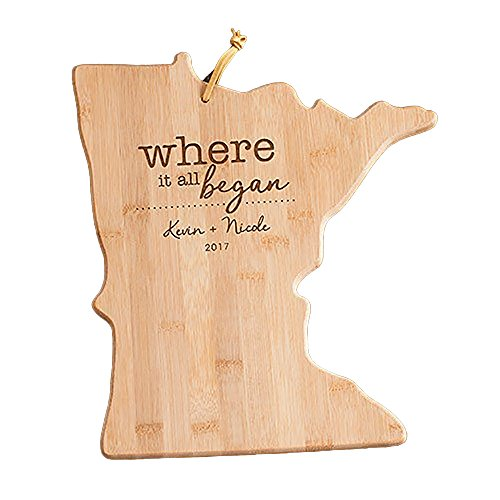 Engraved Where It All Began Minnesota State Cutting Board, Bamboo, Personalized