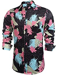 Men's Long Sleeve Tropical Floral Print Hawaiian Aloha Shirt Casual Button Down Shirts