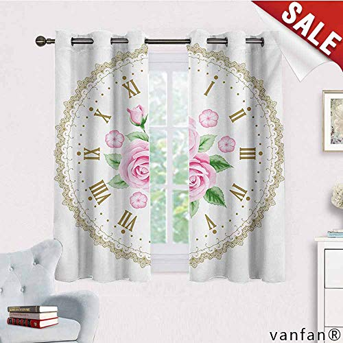 (Big datastore Room Darkening Blackout Curtain,Shabby Chic,Vintage Clock Face Roses Roman Numbers Antique Vintage Style,with Grommet Toppale Pink Green Dark Khaki,W63 Xl45)