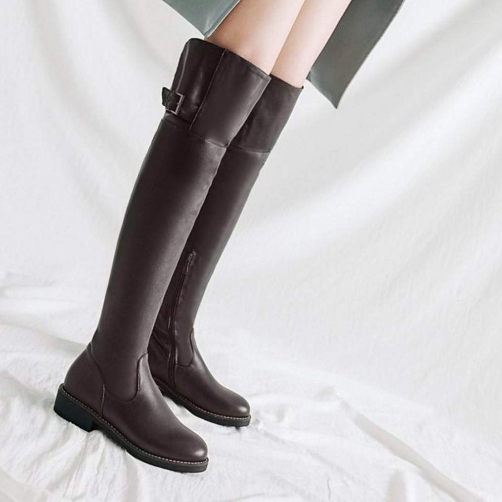 Hoxekle Women Thigh High Boots Winter Warm Fur Shoes Woman Buckle Flats Long Boots Fashion Round Toe Footwear