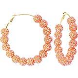 3 Inch Sun Kissed Orange Sparkle Ball Hoop Earrings