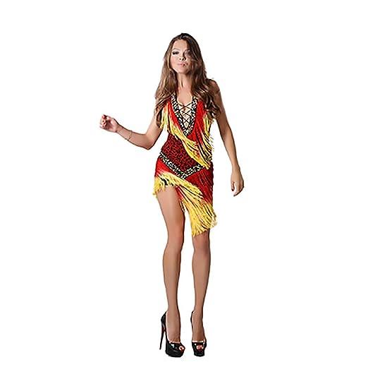 Amazon.com: Vestido Latino de Danza para Mujer Profesional ...