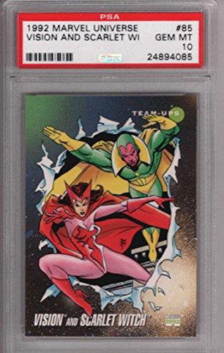 Vision and Scarlet Witch 1992 Marvel Universe Impel 85 Graded PSA 10 GEM MINT MARVEL X-MEN Collectible Trading Card POP 1 1992 Marvel Universe