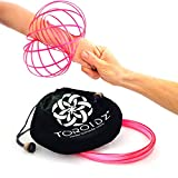 Toroidz (Pink Glow - Amazing Magic Flow Toy w/ Quality Velvet Travel Bag - Interactive Museum - 3D ARM RING - Science, Circus , Festival - All Ages Gift