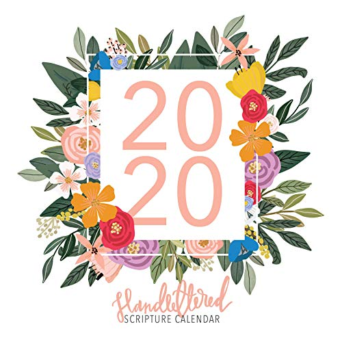 2020 Hand-Lettered Christian Calendar with Floral Illustrations, Calligraphy Bible Verse/Planner/Wall Calendars (12 x 12 inch) - Month Calendar Wall 12 Art