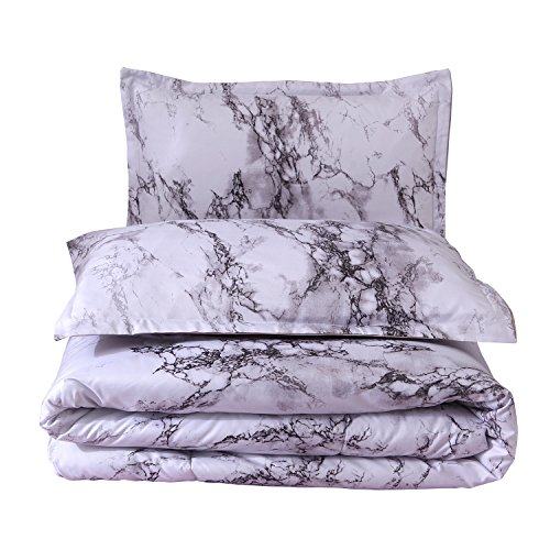 - YOUSA Marble Comforter Set 3-Piece Gray and White Marble Pattern Printed Microfiber Bedding Queen (Gray)