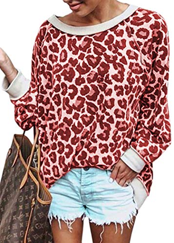 (ECOWISH Women's Casual Leopard Print Pullover Long Sleeve Sweatshirts Top Blouse Red M)