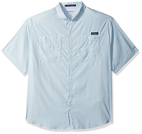 Columbia Mens Super Tamiami Short Sleeve Shirt, Teal Mini Check, Medium