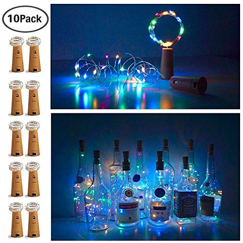 20 LED Bottle Cork String Lights Wine Bottle Fairy Mini String Lights Copper Wire, Battery Operated Starry Lights for DIY Christmas Halloween Wedding Party Indoor Outdoor,10 Pack (Colorful - Steady)