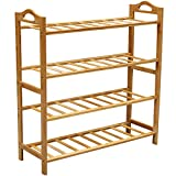 Bamboo Shoe Rack, Natural Bamboo 100% Natural Flat Bamboo Shoe Rack 4-Tier Entryway Shoe Shelf Storage Organizer for Closets, Bedrooms or Doorways
