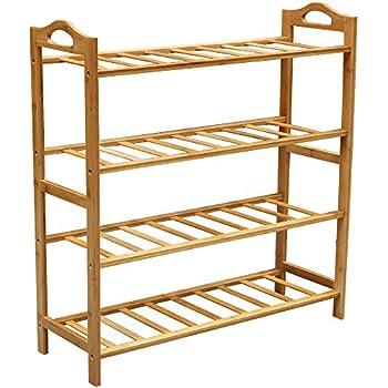 Bamboo Shoe Rack, Natural Bamboo 100% Natural Flat Bamboo Shoe Rack 4 Tier  Entryway Shoe Shelf Storage Organizer For Closets, Bedrooms Or Doorways