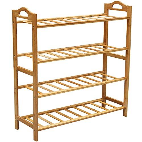Bamboo Shoe Rack, Natural Bamboo 100% Natural Flat Bamboo Shoe Rack 4-Tier Entryway Shoe Shelf Storage Organizer for Closets, Bedrooms or Doorways