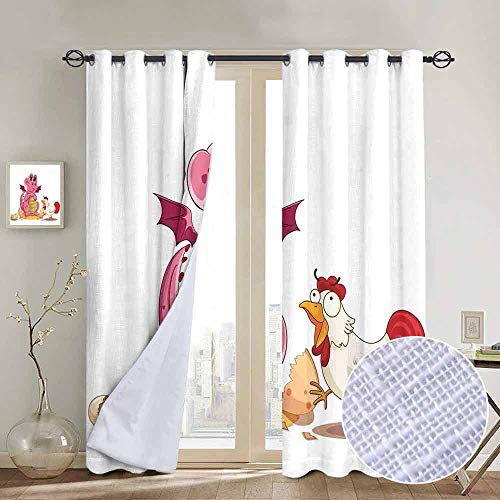NUOMANAN Thermal Insulated Blackout Curtain Jurassic Decor,Illustration of Hen Chicken and Baby Dinosaur Wings Out from Egg Kids Childrens Print,Blackout Draperies for Bedroom Living Room 84