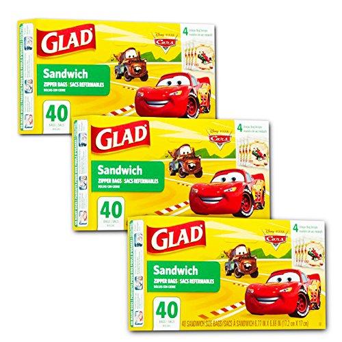 Glad Sandwich Bags - Glad Food Storage Bags, Sandwich Size Zipper Bags, Cars, 120 Count (120 Bags)