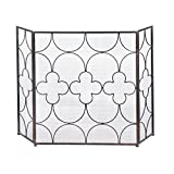 Accent Plus Fire Screen For Fireplace, Iron Three Panel Decorative Modern Fireplace Screen