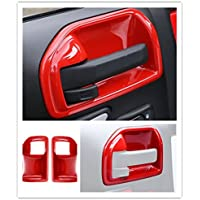 FMtoppeak Red 4 Pcs Inner Door Handles Bowl Cover Trim Chrome For 2011-16 Jeep Wrangler 4 Door