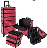Seya 4 in 1 Rolling Makeup Cosmetic Case w/ 4 Wheels and Adjustable Dividers (Hot Pink Diamond)