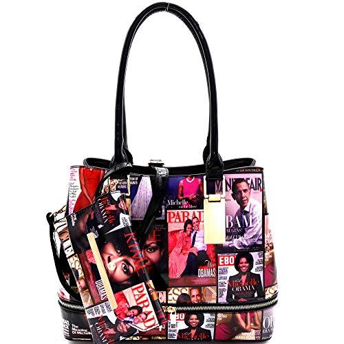 Hologram Patent PU Leather Michelle Obama Magazine Cover Print 2 in 1 Linked Chain Tote Bag Purse SET (Zipper Tote-Black)