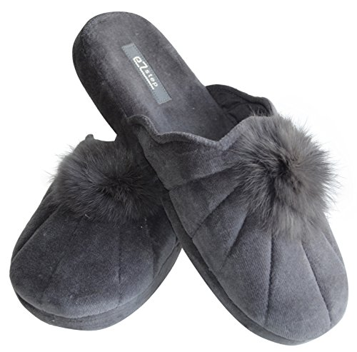 rabbit Gemelli Slippers Real pom fur pom EZSTEP Lucy Gray Women's 77aSgq