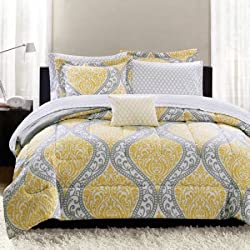 Mainstays Yellow Damask Coordinated Bedding Set Bed in a Bag - King
