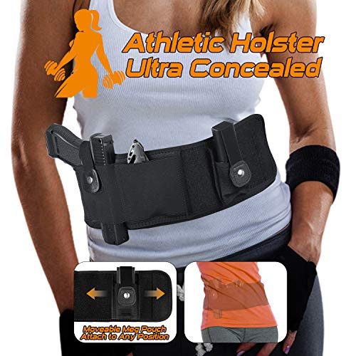 SUFEINI Belly Band Holsters Concealed Carry -【2019 New Upgrade Movable Mag Pouch】 Gun Holster Belt for Women & Man Running Fits for Glock, Sig Sauer, Beretta, S&W M&P, Ruger, Revolver (Best Mid Size 9mm Handgun)