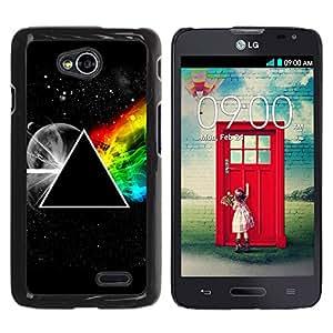 KOKO CASE / LG Optimus L70 / LS620 / D325 / MS323 / triángulo simbolia secretas universo arco iris / Delgado Negro Plástico caso cubierta Shell Armor Funda Case Cover