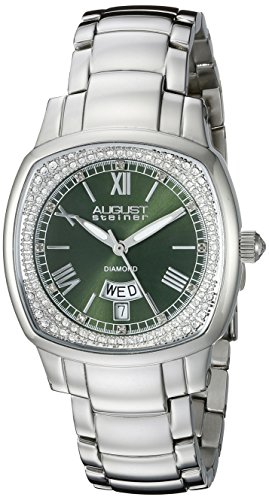August Steiner Women's AS8193GN Silver Swiss Quartz Watch with Green Dial and Silver Bracelet