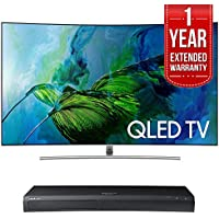 Samsung QN65Q8C Curved 65-Inch 4K Ultra HD Smart QLED TV (2017 Model) w/ Samsung 4K Ultra HD Blu-ray Player & 1 Year Extended Warranty