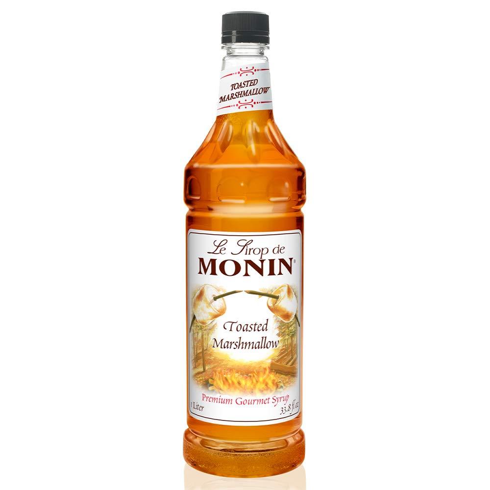 Monin - Toasted Marshmallow Syrup, Marshmallow & Caramel Flavor, Great for Cocoas, Lattes, & Shakes, , Non-GMO, Gluten-Free (1 Liter)