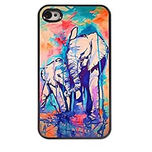 SHOUJIKE Water Colorful Elephant Design Aluminum Hard Case for iPhone 4/4S