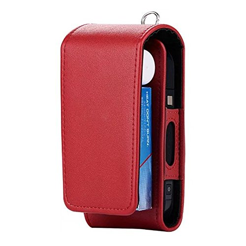 iQOS Electronic Cigarette Protective Holder Cigar Cover iQOS Wallet Case Electronic Cigarette PU Leather Carrying Case Box with Card Holder (Red)